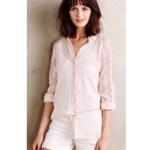 Anthro Holding Horses Light Pink Lace Button Front